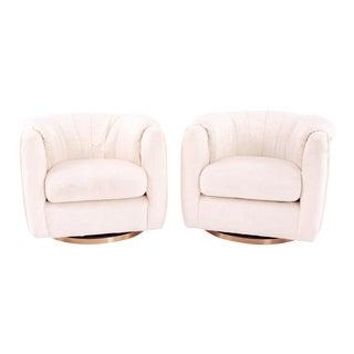 Milo Baughman Style Mid Century Brass Barrel Swivel Lounge Chairs - Pair For Sale