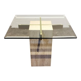 Italian Travertine, Brass and Glass Occasional Side Table by Artedi For Sale