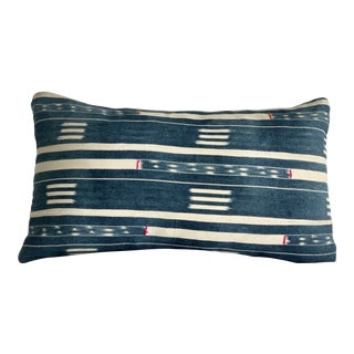 Vintage Indigo African Mud Cloth Pillow Cover and Insert For Sale