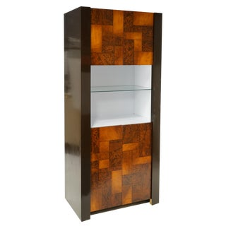 Paul Evans Style Burled Tall Cabinet For Sale