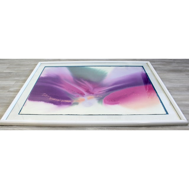 For your consideration is a magnificent, framed, abstract, watercolor painting, signed by the artist, circa the 1970s. In...
