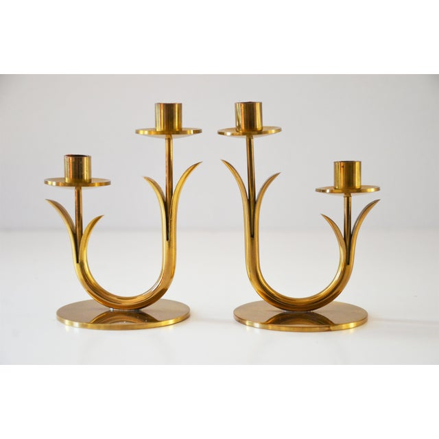 Modern Brass Candle Holders by Gunnar Ander for Ystad Metall-a Pair For Sale - Image 10 of 10