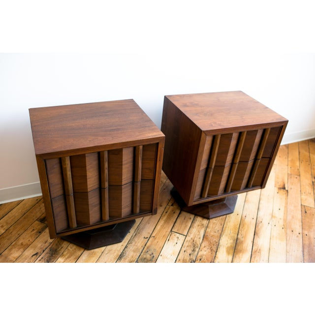Paul Evans Style Mid-Century Brutalist Pedestal Night Stands- A Pair - Image 2 of 9