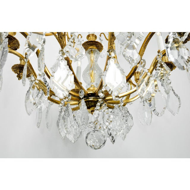Gold 1920s Antique French Cut Crystal Eight Arm Chandelier For Sale - Image 8 of 11