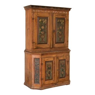 Antique Original Painted Swedish Cupboard Cabinet With Floral Panel For Sale