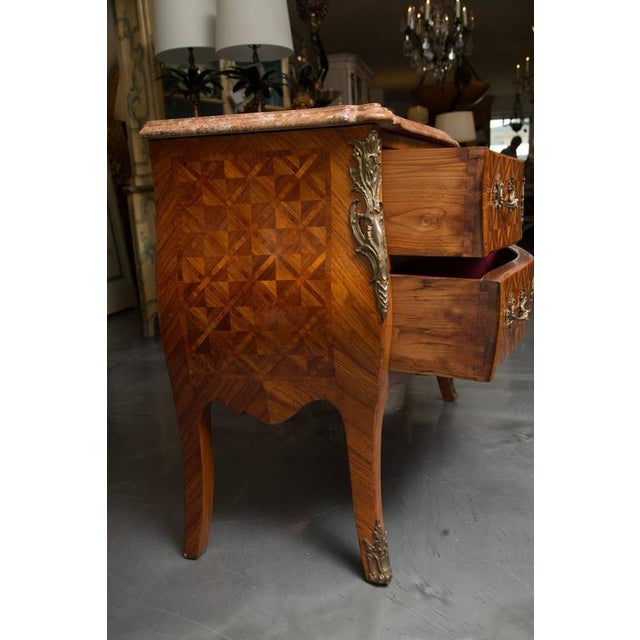 Pair of Louis XV Style Inlaid Commodes For Sale - Image 9 of 10