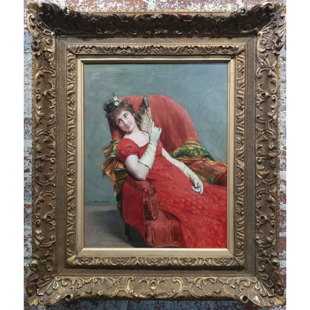 Oil Paint Jean Joseph Weerts - Portrait of a Woman in Red W/A Fan- Oil Painting C1880s For Sale - Image 7 of 11