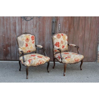 Antique French Carved Walnut Suzani Chairs - a Pair Preview