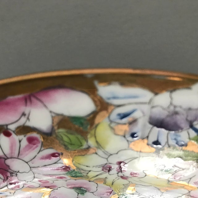 Asian Vintage Floral and Gold Chinoiserie Plate For Sale - Image 3 of 7