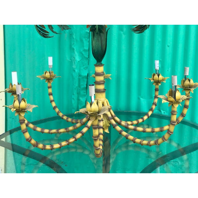 Boho Chic Large Palm Tree Leaf Faux Bamboo Metal Chandelier For Sale - Image 3 of 13