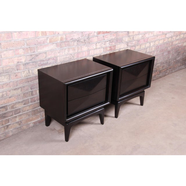 1960s Mid-Century Modern Ebonized Sculpted Walnut Diamond Front Nightstands by United, Newly Refinished For Sale - Image 5 of 11