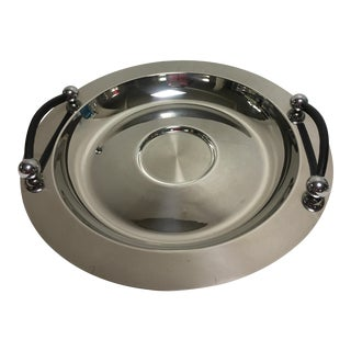 Waterford Marquis Stainless Leather Tray For Sale