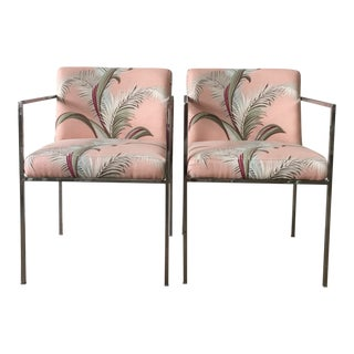 Hollywood Regency Milo Baughman for Thayer Coggin Pink Palm Frond Side Chairs - a Pair