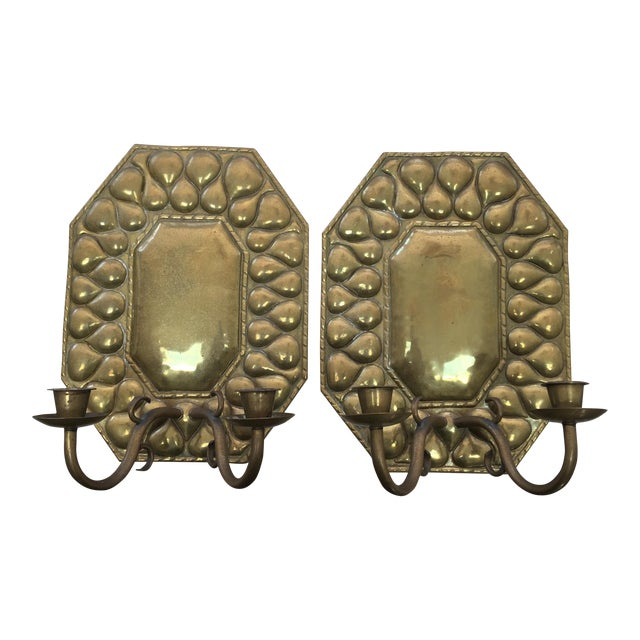 Antique Continental Brass Repousse Wall Candle Sconces - a Pair For Sale