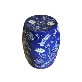 Chinese Blue & White Porcelain Round Flower Bird Stool