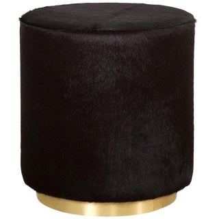 Chubby Ottoman in Black Cowhide For Sale