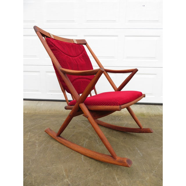 Wood Mid Century Modern Teak Rocker Lounge Chair For Sale - Image 7 of 13