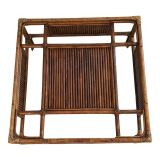 Vintage Mid Century Hollywood Regency Rattan and Wicker Coffee Table With Glass Top For Sale