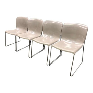 "1980s Vintage Fixtures Furniture Contract Stacking ""D'"" Chairs - Set of 4 For Sale"