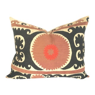 Black and Cabernet Vintage Suzani Pillow For Sale