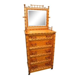 19th Century Aesthetic Movement Birds Eye Maple Faux Bamboo Highboy Dresser For Sale