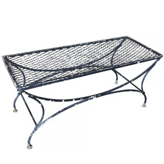 Rustic Wrought Iron and Mesh Coffee Table by Russell Woodard Company For Sale