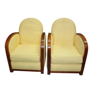 Classic Pair of French Art Deco Speed Armchairs or Club Chairs, Circa 1940s