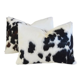 "Brazilian Cowhide & Linen Feather/Down Pillows 22"" X 16"" - - a Pair For Sale"