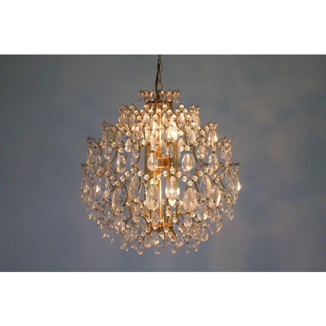 Hollywood Regency Swarovski Crystal Glass and Gold Chandelier, 1970s For Sale - Image 3 of 5
