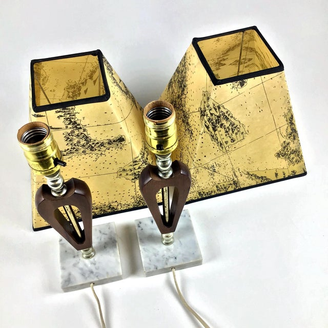 1960s Vintage Teak Marble Brass Italian Lamps - a Pair For Sale - Image 4 of 12