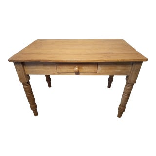 Antique Pine Kitchen Table With One Drawer For Sale