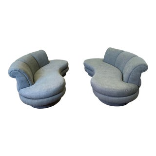 Pair of Mid Century Kagan Cloud Sofas New Upholstery For Sale
