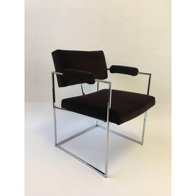 Set of Six Chrome Armchairs by Milo Baughman for Thayer Coggin For Sale - Image 10 of 11