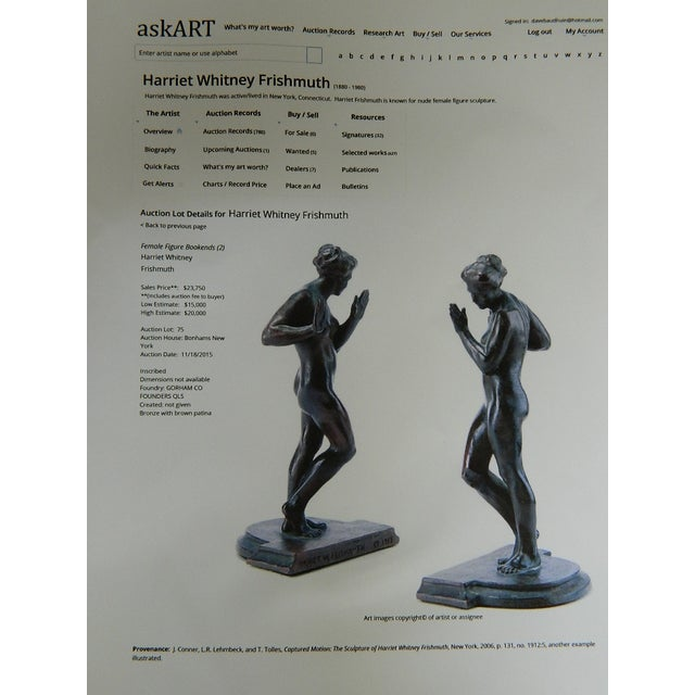 Harriet Whitney Frishmuth Bronze Sculpture Female Figure Bookends - a Pair For Sale - Image 11 of 13