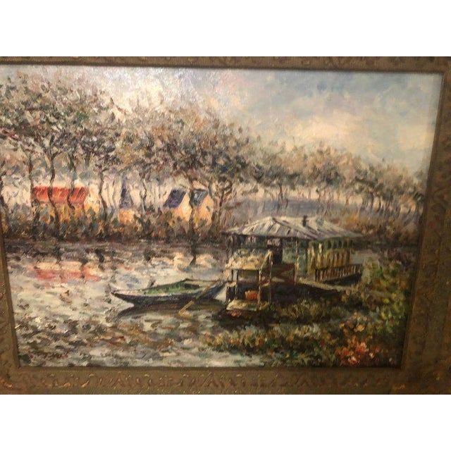 """Canal scene oil on canvas painting signed. Nicely detailed in a gilt frame. Unframed H 11"""", W 15""""."""