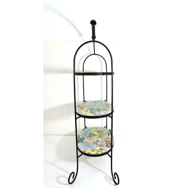Cottage Mosaic Three Tier Wrought Iron Shelf Unit or Plant Stand For Sale - Image 3 of 8