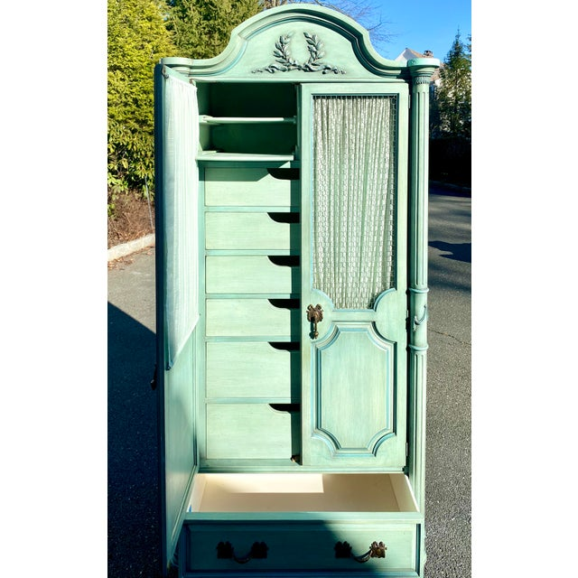 French Lewis Mittman Blue Painted Louis XVI Style Armoire For Sale - Image 3 of 13