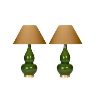 Casa Cosima Double Gourd Table Lamp, Olive Craquelure/Mystic Gold Shade - a Pair For Sale
