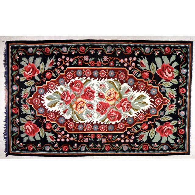"""1920s Vintage Balkan Bessarabian Hand Made Organic Wool Natural Color Floral Kilim,6'5""""x10'2"""" For Sale - Image 5 of 5"""