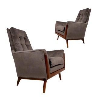 Adrian Pearsall Tufted Craft Associates Walnut Framed Lounge Chairs - a Pair For Sale