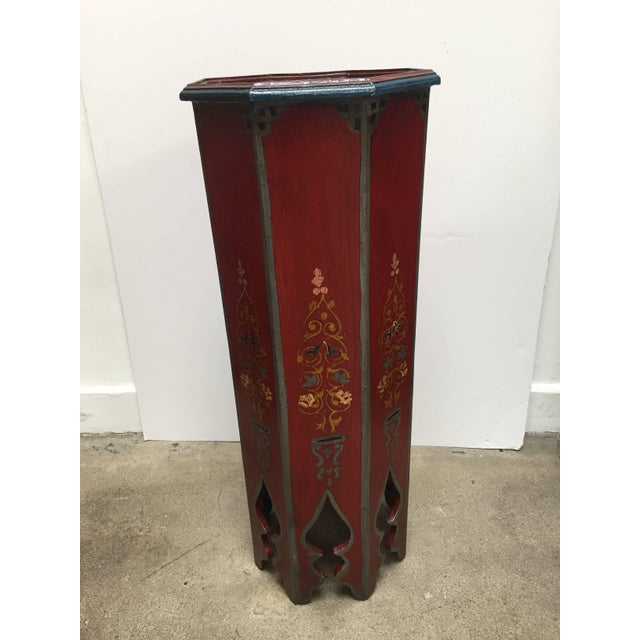 Mid 20th Century Pair of Hand-Painted Moroccan Pedestal Octagonal Shape Table With Moorish Arches For Sale - Image 5 of 13