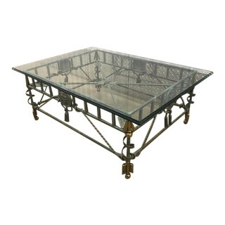 Neoclassical Maitland Smith Rectangular Iron Verdigris Coffee Table For Sale