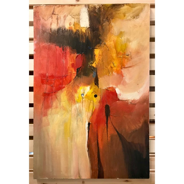Red 1970s Vintage Leonardo M. Zablan Abstract Oil on Canvas Painting For Sale - Image 8 of 8