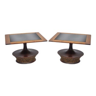 Pair of Vintage Mid Century Modern Cork Sculpted Walnut Glass Square Low Side Tables For Sale