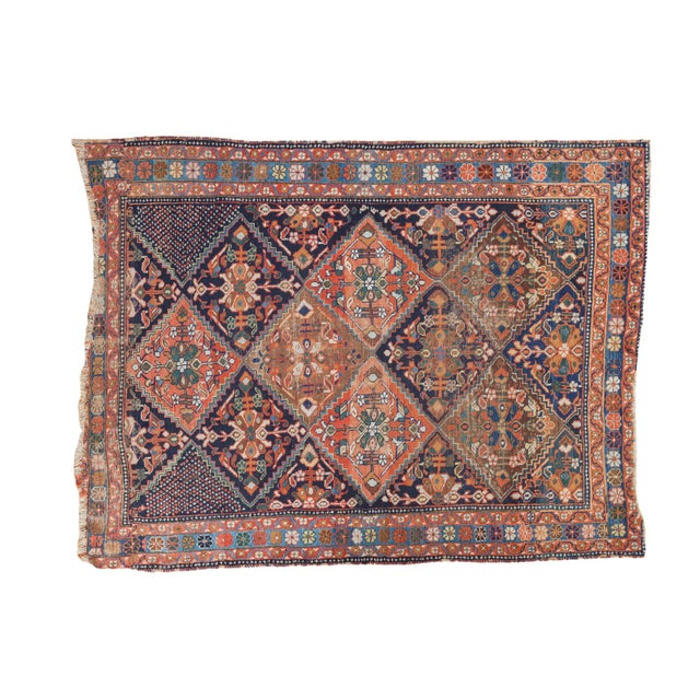 "Antique Distressed Afshar Square Rug - 4'4"" X 5'7"" - Image 1 of 9"