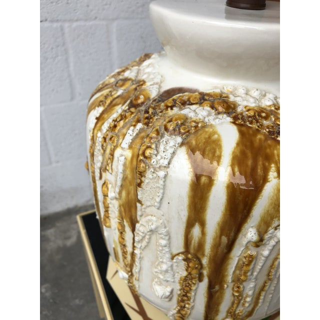 Mid-Century Modern Beautiful Vintage Mid Century Modern Large Drip Glaze Table Lamp For Sale - Image 3 of 8