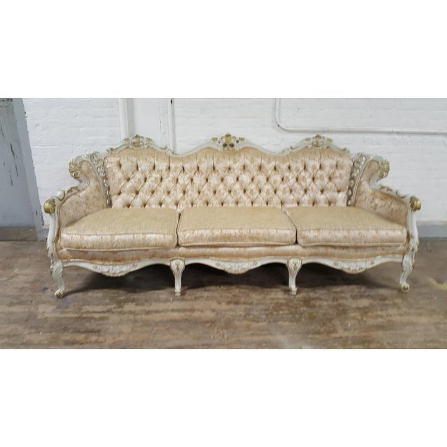 Victorian Antique Gold and Ivory Brocade Tufted Sofa - Image 3 of 3