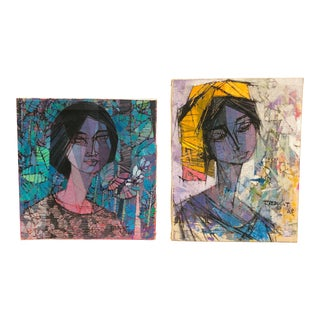 1960s Vintage Portrait Oil Paintings - A Pair For Sale