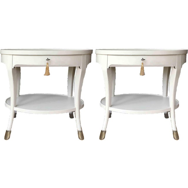 White Louis XIV Baker Furniture Oval Side Tables - a Pair For Sale - Image 8 of 9