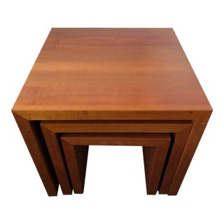 Contemporary Solid Wood Nesting Tables - Set of 3 For Sale